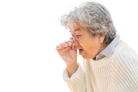 Old woman cough on white background. Illness of the elderly problem concept Stock Photo