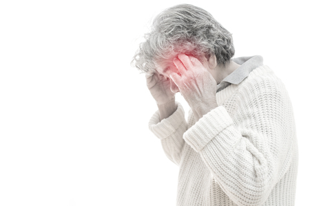 Old woman headache on white background. Illness of the elderly problem concept Foto de archivo
