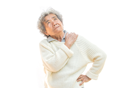 Old woman felt a lot of anxiety about shoulder and neck pain on white background. Illness of the elderly problem concept