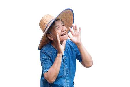 Happy old Asian woman farmer smiling on a white background Reklamní fotografie