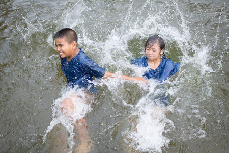 Happy moment Asian children playing water in outdoor , relax time and summer season