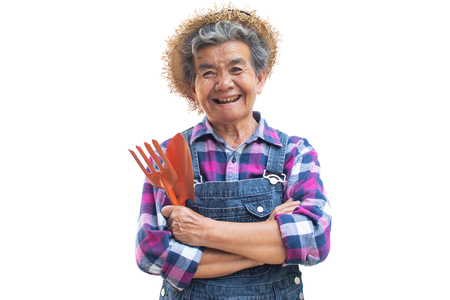 Happy old Asian gardener on a white background