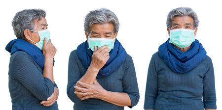 Old woman with mask coughing on white background ,Illness of the elderly problem concept