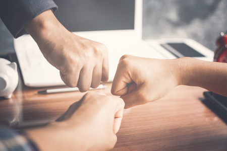 Hands of business teamwork concept together and successful