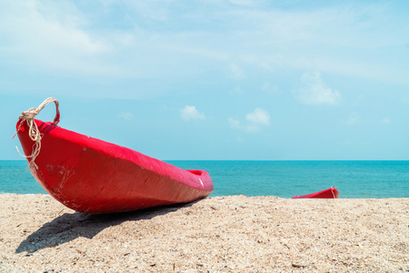 The kayak and canoe on the beach Stock Photo
