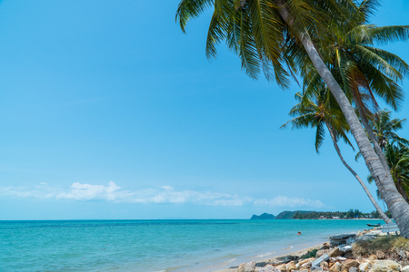 View of seascape in thailand beach with the bright day on summer season.