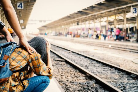 Asian woman miss a train, journey on holiday concept . Imagens - 127565160