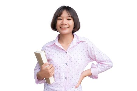 Asian student with a book on white background.