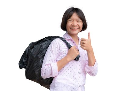 Cute Asian girl holding bin bag on the white background.