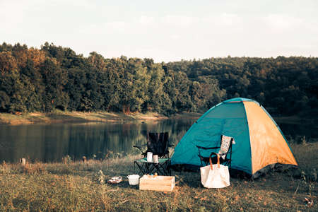 Hipster camping set to resting and relaxing on the holiday and slow life. Stok Fotoğraf