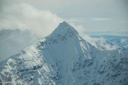 View of the snowy mountain summit Stok Fotoğraf