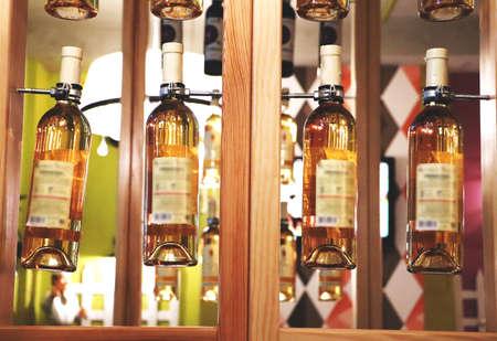 Interior design in a cafe, restaurant. Bottles of wine