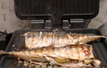 Mackerel is roasted on an electric grill. Grilled fish with lemon and salad