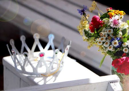 Beautiful crown and wild flowers. The concept of a bachelorette party or birthday Banco de Imagens - 120511759