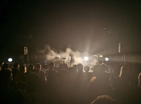 Concert and audience. People watch a group of musicians and a singer performing on stage. Smoke from a smoke plant