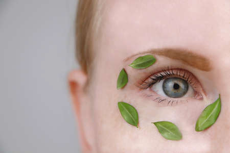 Eyes of a girl with green leaves. Moisturizing, beauty and skin care. The concept of natural and organic cosmetics Zdjęcie Seryjne