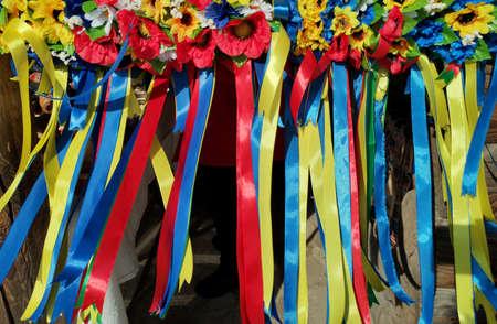 Ukrainian wreath: traditional eastern Slavic ornament. Blue and yellow ribbons, ethnic headdress Zdjęcie Seryjne