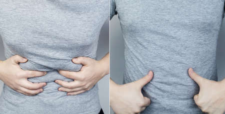 Before and after abdominal pain. On the left is a photo of how the person is hurt stomach, and on the right, that everything is fine for him and the abdominal cavity does not hurt anymore. Spasms