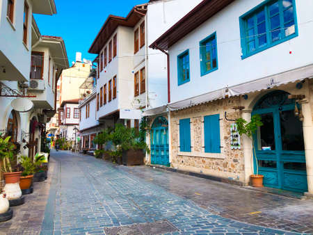 Empty streets with old Ottoman time buildings of Antalya Old town Kaleici Turkey