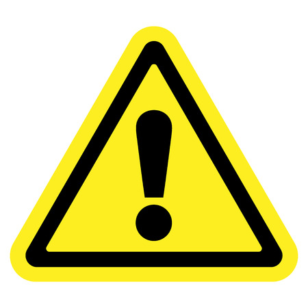 Hazard warning attention sign. Icon in a yellow triangle with exclamation mark symbol, isolated on a white background. Traffic symbol. Stock vector illustration