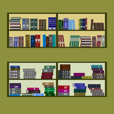 bookshop: Bookshelves with a lot of books. Stacks of books of different colors, sizes and shapes isolated on a green background. The symbol of library, bookstore, education, science. Flat design style. Vector Illustration