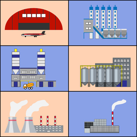 hangar: Industrial factory buildings, manufactory, hangar with plane, heat electric station, plant icons set. Modern infographic flat design. Colorful template for you design, web, mobile applications. Vector