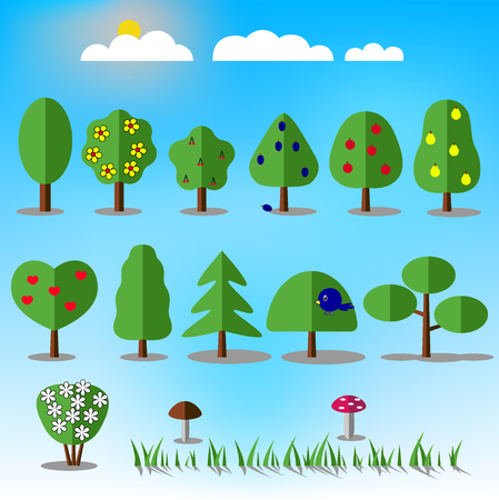 fruit tree: Tree icons set. Nature collection. Trendy and beautiful set of flat floral elements. Include grass, mushrooms, berries, bushes, trees and fruit trees. Sun and clouds. Stock vector illustration