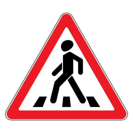 交通標識横断歩道。交通標識横断歩道。横断歩道の三角形の警告標識のイラスト。株式ベクトル  イラスト・ベクター素材