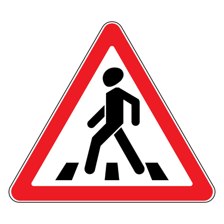 Traffic sign pedestrian crossing. Traffic sign zebra crossing. Illustration of triangular warning sign for pedestrian crossing. Stock vector