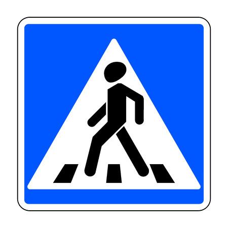 zebra crossing: Pedestrian crossing sign. Traffic sign zebra crossing. Illustration of blue square warning sign for pedestrian crossing isolated on white background. Stock vector illustration