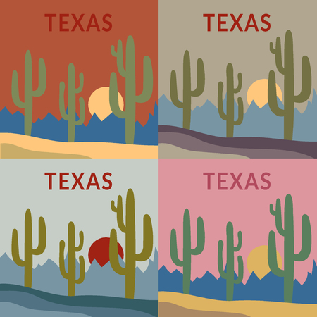 arizona sunset: Texas Typography Graphics set. Fashion design for sportswear apparel. Western Desert Landscape sunset and sunrise with cactus, sun, mountains. Concept in modern style for print production. Vector