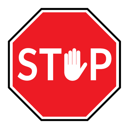 STOP sign. Traffic stop sign isolated on white background. Red octagonal stop sign for prohibited activities. Hand sign in place letter O. Vector illustration - you can simply change color and size Ilustração