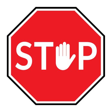 Stopteken. Stop verkeersbord geïsoleerd op een witte achtergrond. Rood achthoekige stopbord voor verboden activiteiten. Hand teken in plaats letter O. Vector afbeelding - kunt u eenvoudig veranderen kleur en grootte