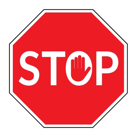 Panneau stop. Trafic stop isolé sur fond blanc. stop octogonale rouge pour activités interdites. signe de la main dans la lettre O. Stock illustration vectorielle, vous pouvez simplement changer la couleur et la taille
