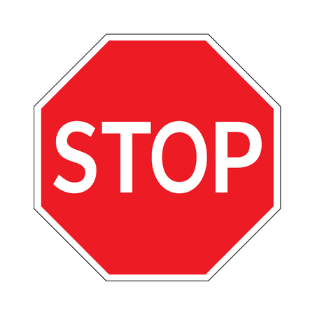 STOP. Traffic stop sign on pure white. Red octagonal stop sign for prohibited activities. Vector illustration - you can simply change color and size Vettoriali