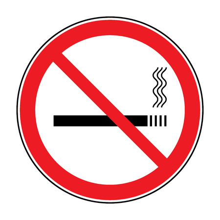 pernicious habit: No smoking sign. Icon showing no smoking is allowed. Red round no smoking sign. Smoking prohibited symbol isolated on white background. Stock Vector Illustration. You can change color and size Illustration