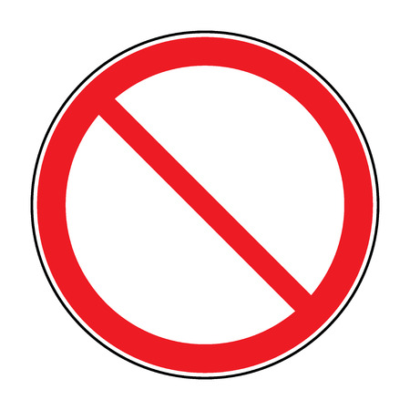 Prohibition sign isolated on white for no entry, no entrance, wrong way, banning concepts. Red prohibition, restriction - no entry sign. Red no or not allowed symbol on white background. Stock vector