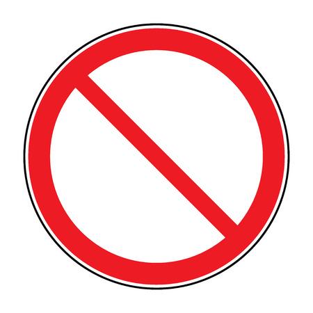 Verbod teken geïsoleerd op wit voor geen toegang, geen toegang, verkeerde manier, een verbod op concepten. Red verbod, de beperking - geen vermelding ondertekenen. Rode geen of niet toegestaan symbool op een witte achtergrond. Stock vector