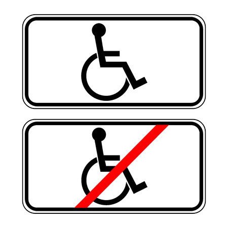 prohibiting: Disabled sign in the white rectangle. Handicapped person icon isolated on white background. No, Ban or Stop signs. Prohibiting sign and permissive sign for the disabled. Stock Vector Illustration