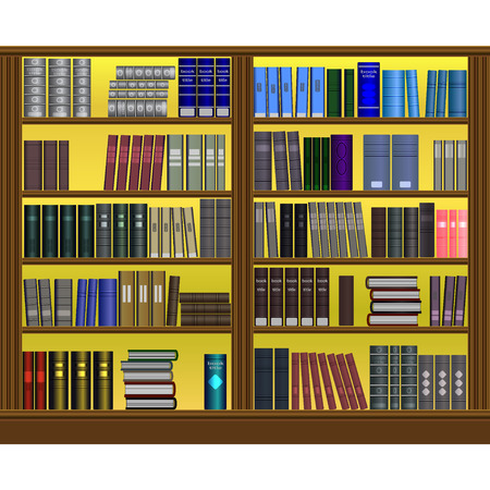 Bookshelves with a lot of books. Stacks of books of different colors, sizes and shapes in a big bookcase. The symbol of Library, bookstore, education, school or science. Naturalistic design. Vector Ilustração