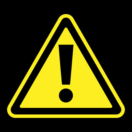 attention sign: Hazard warning attention sign. Icon in a yellow triangle with exclamation mark symbol, isolated on a black background. Traffic symbol. Stock vector illustration