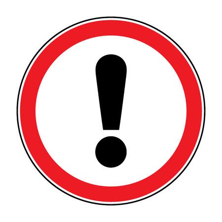 Hazard warning attention sign. Icon in a red circle with exclamation mark symbol, isolated on a white background. Traffic symbol. Stock vector illustration