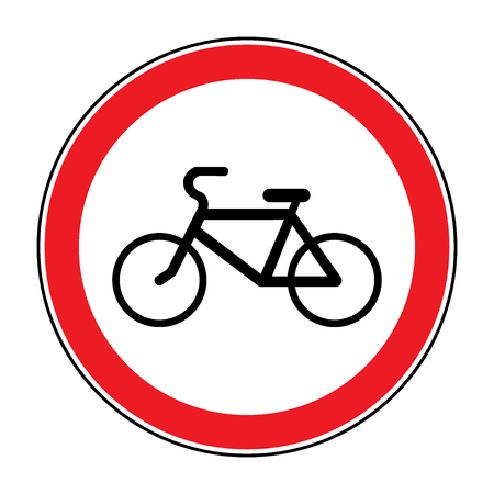 passing the road: No or Not allowed bicycles symbol. Sign indicating prohibition of passing bicycle rules. Prohibit road icon isolated on white background. No bikes allowed emblem. Stock Vector illustration Illustration