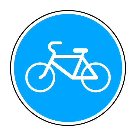 rules of road: Bicycle traffic sign. Blue bike warning symbol in a red triangle. Emblem indicating of passing bicycles rules. Road icon isolated on white background. Bikes allowed emblem. Stock Vector illustration