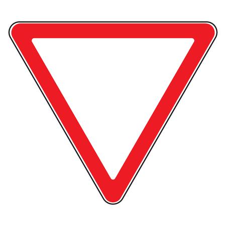 道路標識を与える分離方法。デザイン収量、三角形のアイコン。交通標識の優先順位。空白の三角形の道路標識。白い背景の上道路シンボル デザイ