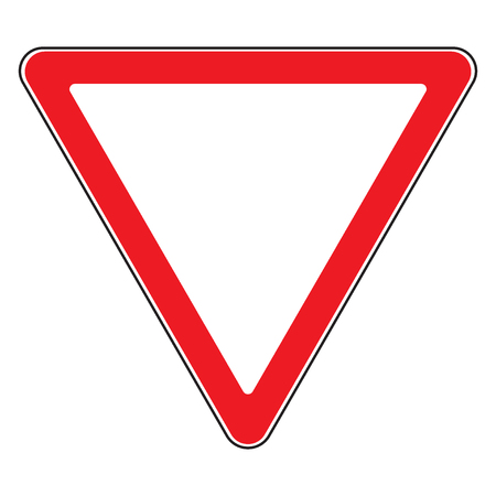 Road sign give way isolated. Design yield triangular icon. Priority of traffic sign. Blank triangular road sign. Road symbol design on white background. Vector illustration