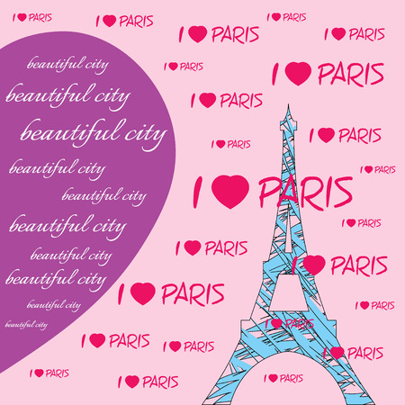 i love paris: Fashion Typography Graphics. T-shirt Design with hearts and lettering Beautiful city, I love Paris. Illustration of blue eiffel tower with pink hearts. Big violet heart. Paris as symbol of love