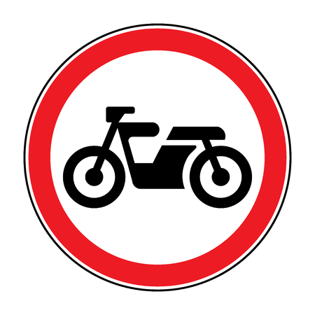 motocycle: Motorcycle prohibition sign. No motorcycle or no parking icon in the red circle isolated on white background. Illustrations of prohibiting warning symbol for motorcyclists. Vector Illustration
