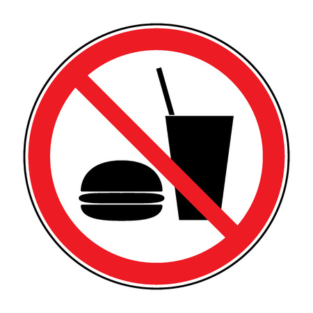 Do not eat and drink icon. No food or drink symbol isolated on white background. No eating and no drinks allowed. Red circle prohibition sign. Stop flat symbol. Stock vector