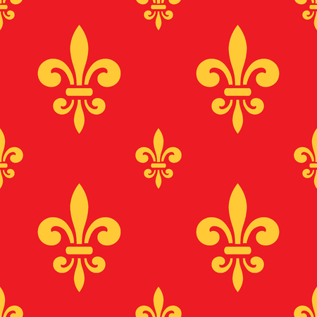 royal french lily symbols: Seamless pattern with gold fleur-de-lis on red background. Graphics design for wallpaper, wrapping, tiles, fabric, apparel, print production. Fleur de lis royal lily texture in antique style. Vector